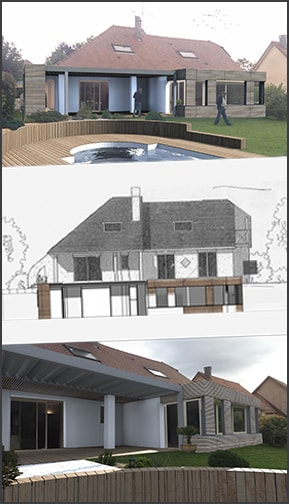 plans et perspectives extension maison bois pau