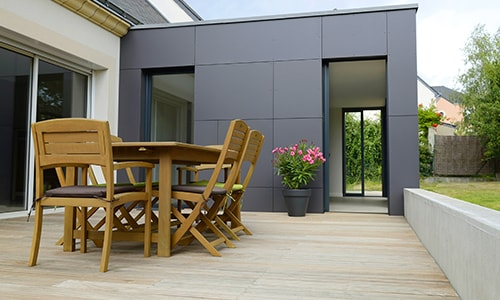 Extension maison architecte moderne gris anthracite